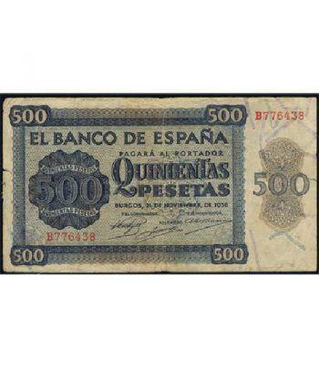 (1936/11/21) Burgos. 500 Pesetas. MBC. Serie B776438.  - 1