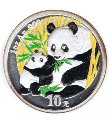 Moneda onza de plata color 10y. China Oso Panda 2005  - 1