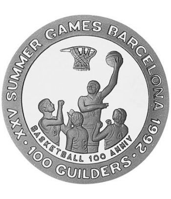 Moneda de plata 100 Guilders Suriname 1992. Barcelona 1992.  - 1