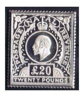 Sello plata Natal 20 Pounds 1902.  - 2