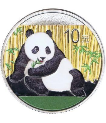 Moneda onza de plata color 10y. China Oso Panda 2015  - 1