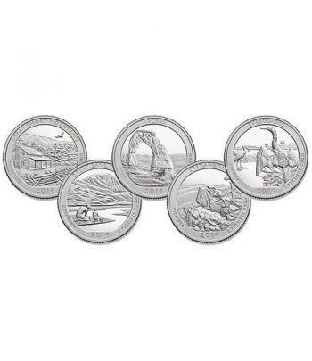 E.E.U.U. 1/4$ 2014 Parques Nacionales (5 monedas) ceca P.  - 2