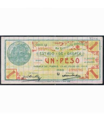 Oaxaca de Juarez 1 peso 19 julio 1915. EBC  - 1