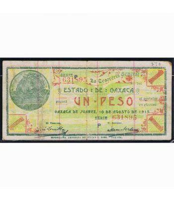 Oaxaca de Juarez 1 peso 10 agosto 1915. MBC  - 1