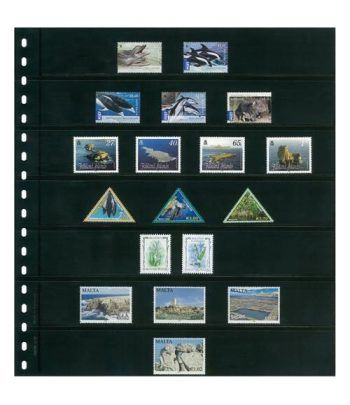 LINDNER Hoja clasificadora Negra 7 tiras OMNIA 07 paquete de 10 Hojas Clasificadoras - 2