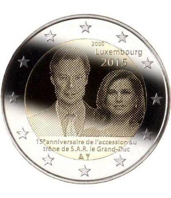 moneda conmemorativa 2 euros Luxemburgo 2015. 15 Anº Trono.  - 2