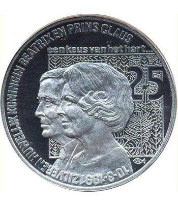 Moneda de plata 25 Ecu Holanda 1991 Beatrix. Proof.  - 1