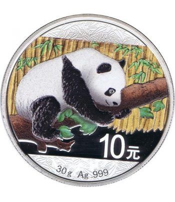 Moneda onza de plata color 10y. China Oso Panda 2016  - 1