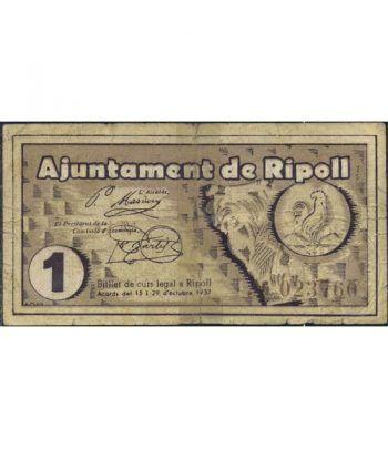 (1937) 1 Pesseta Ajuntament de Ripoll. MBC  - 1
