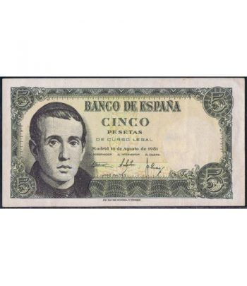 (1951/08/16) Madrid. 5 Pesetas. EBC.  - 4