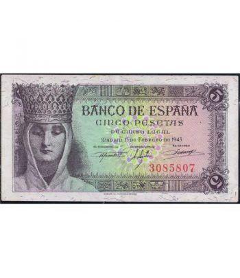(1943/02/13) Madrid. 5 Pesetas. EBC+. Sin Serie 3085807.  - 1