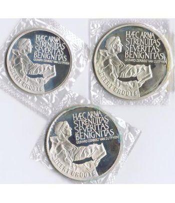 Monedas de plata Ecus Holanda 1990 Geert Groote. Proof.  - 1