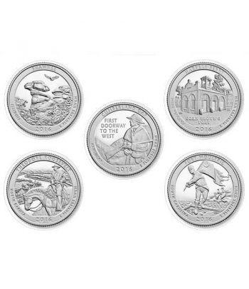E.E.U.U. 1/4$ 2016 Parques Nacionales (5 monedas) ceca P.  - 2