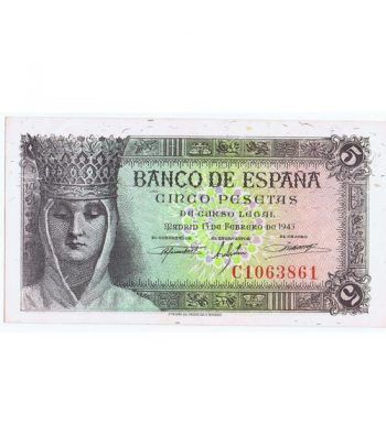 (1943/02/13) Madrid. 5 Pesetas. EBC+. Serie C1063861.  - 1