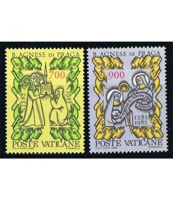Vaticano 0726/27 700 años muerte Agnes de Praga 1982.  - 2