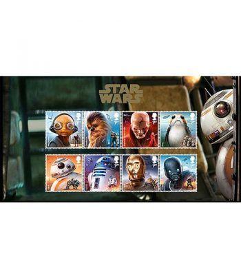 Cine Gran Bretaña 2017 Star Wars El Último Jedi. 8 sellos.  - 1
