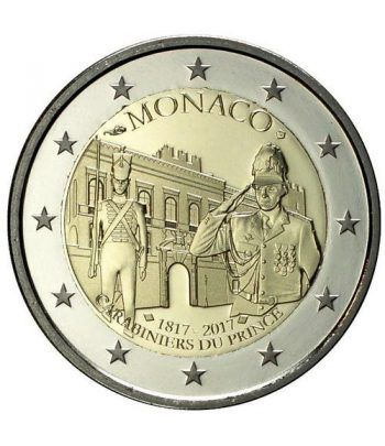moneda conmemorativa 2 euros Monaco 2017 Carabineros. Proof  - 2