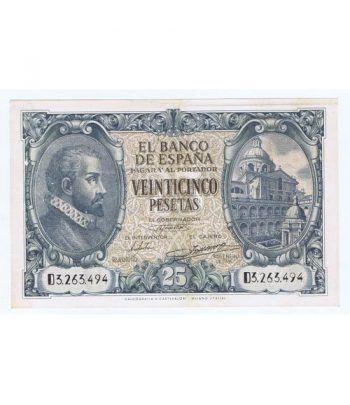 (1940/01/09) Madrid. 25 Pesetas. EBC+. Serie D3263494  - 1