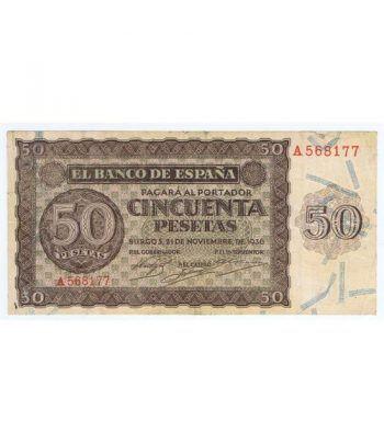 (1936/11/21) Burgos. 50 Pesetas. MBC-. Serie A568177  - 1