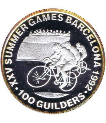 Moneda de plata 100 Guilders Suriname 1992 Ciclismo Barcelona 92  - 1