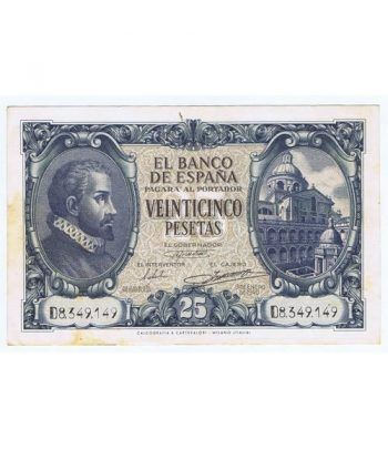 (1940/01/09) Madrid. 25 Pesetas. EBC- Serie D8349149 Manchas  - 1