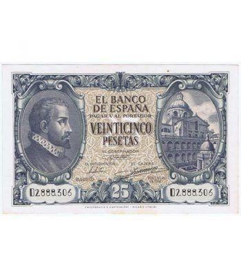(1940/01/09) Madrid. 25 Pesetas. EBC Serie D2888306 Manchas  - 1