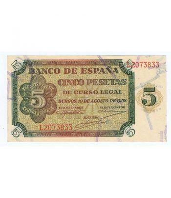 (1938/08/10) Burgos. 5 Pesetas. SC. Serie L2073833  - 1