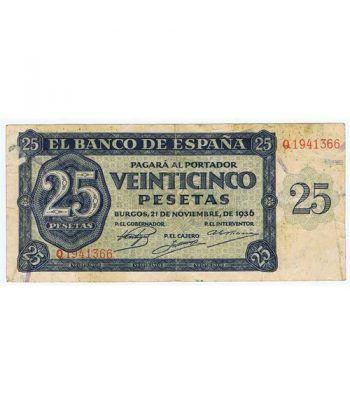 (1936/11/21) Burgos. 25 Pesetas. MBC. Serie Q1941366  - 1