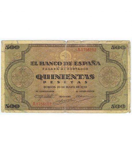 (1938/05/20) Burgos. 500 Pesetas. MBC-. Serie A1756152  - 1