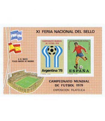 1978 XI Feria Nacional del Sello. Madrid. Hojita recuerdo Futbol  - 2
