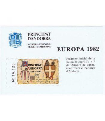 1982 Europa. Hojita recuerdo Andorra.  - 2
