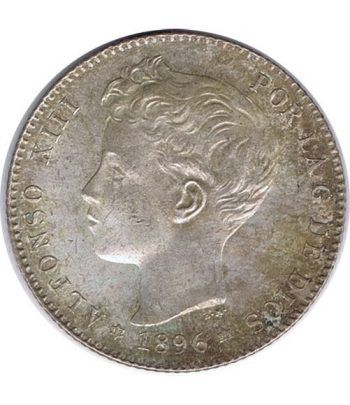 1 Peseta Plata 1896 *96 Alfonso XIII PG V.  - 1