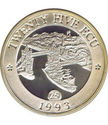 Moneda de plata 25 Ecu Gran Bretaña 1993 Europa Piedfort.  - 1