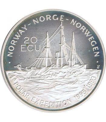Moneda de plata 20 Ecu Noruega 1993. Barco  - 1
