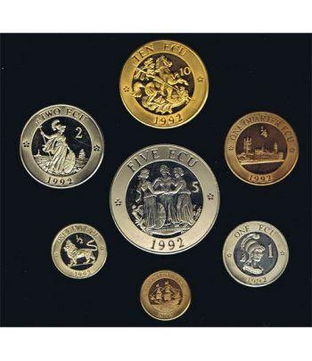 Estuche monedas Inglaterra 1992 ECU Piedfort Proof. 7 monedas.  - 1