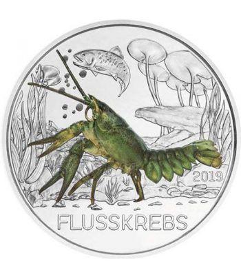 moneda Austria 3 Euros 2019 Cangrejo de Río color Tier-Taler.  - 1