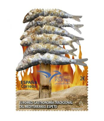 Sello de España 5421 Gastronomía tradicional del Mediterráneo. Espeto  - 2