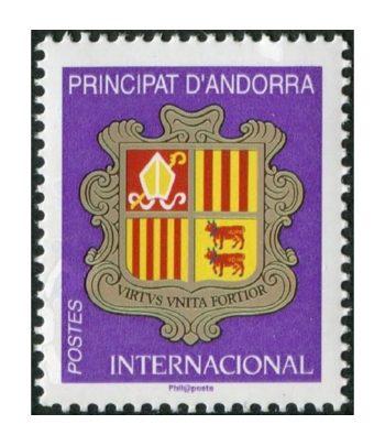 Sello Andorra Francesa 834 Escudo lila 2019  - 1