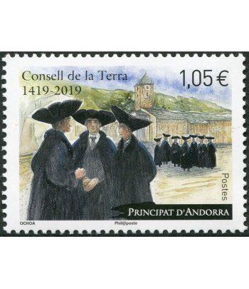 Sello Andorra Francesa 837 Consell de la Terra 2019.  - 1