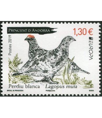 Sello Andorra Francesa 840 Europa 2019. Perdiz Blanca.  - 1