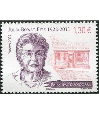 Sello Andorra Francesa 843 Julia Bonet Fite 1922-2011  - 1
