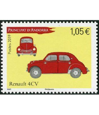 Sello Andorra Francesa 845 Automovil Renault 4CV..  - 1