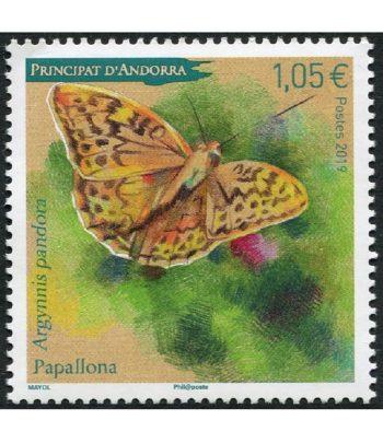 Sello Andorra Francesa 846 Mariposa Argynnis Pandora  - 1