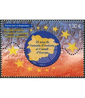 Sello Andorra Francesa 849 Consell de Europa.  - 1