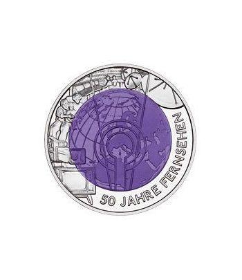 moneda Austria 25 Euros 2005 (50º Aº. Televisión) niobio-estuche  - 1
