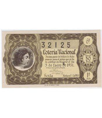 Loteria Nacional. 1951 sorteo 1. Marrón  - 2