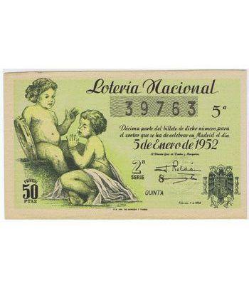 Loteria Nacional. 1952 sorteo 1. Verde.  - 2