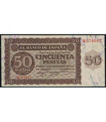 (1936/11/21) Burgos. 50 Pesetas. EBC+. Serie Q074043.  - 1